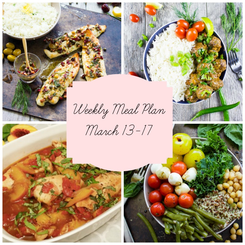 Meal plan featuring 4 main dishes, baked fish topped with herbs, bowl of meatballs and white rice, white casserole dish with chicken and peaches and a Buddha bowl of fresh vegetables.