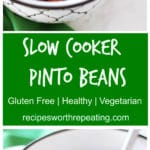 Bowl containing pinto beans cooked in a slow cooker. Recipes at recipesworthrepeating.com