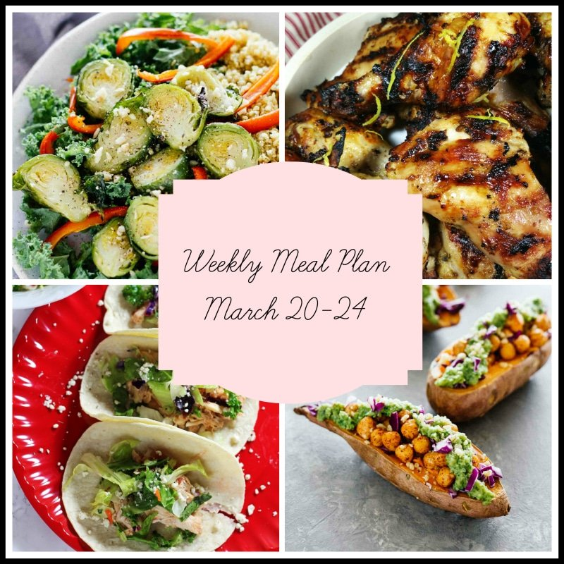 Weekly Meal Plan featuring a bowl of brussels sprouts, a plate of Greek Marinated Chicken, chicken tacos and two sweet potatoes.