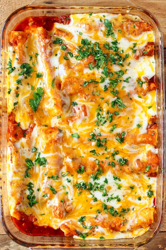 Casserole dish containing chicken enchiladas, topped with melted cheese and fresh parsley.