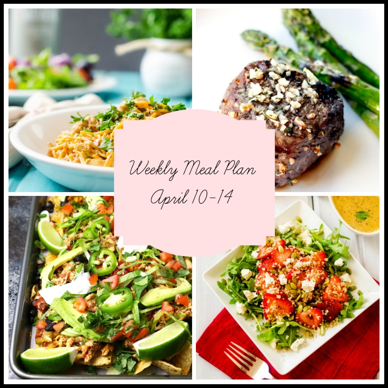 A weekly meal plan with a blue bowl of chicken stroganoff, filet topped with garlic and asparagus, a pan of chicken nachos and a strawberry salad in a white bowl.