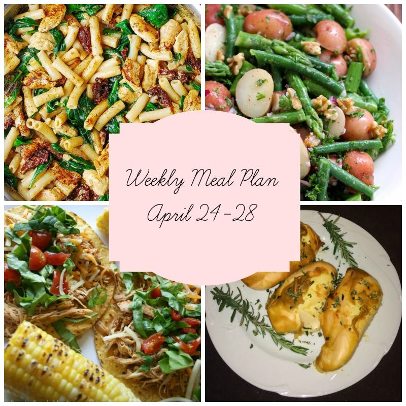 4 dishes featured in a weekly meal plan, pasta with spinach; beans, potatoes and asparagus salad, crockpot tacos and dijon chicken.