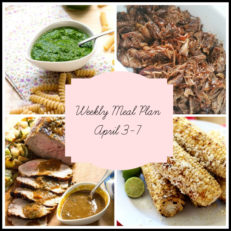 A weekly meal plan with green pesto sauce and scattered pasta on a table, pan of BBQ short ribs, Pork Tenderloin with a bowl of gravy and 4 seasoned corn on the cobs with 2 lime wedges.