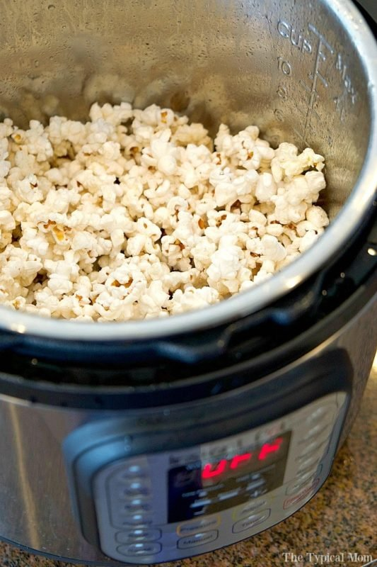 Instant Pot containing fresh popped popcorn.