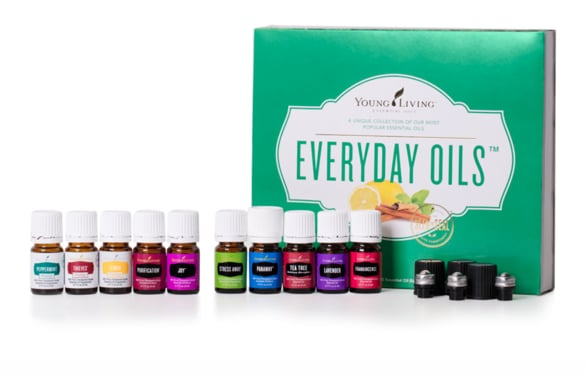 Young Living Starter kit containing 11 bottles of essential oils from peppermint, lemon, lavender, stress away, thieves and more!