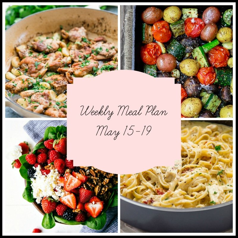 Weekly Meal Plan featuring 4 dishes of garlic chicken, roasted potatoes, peppers and tomatoes, a berry salad and a pan of chicken alfredo.