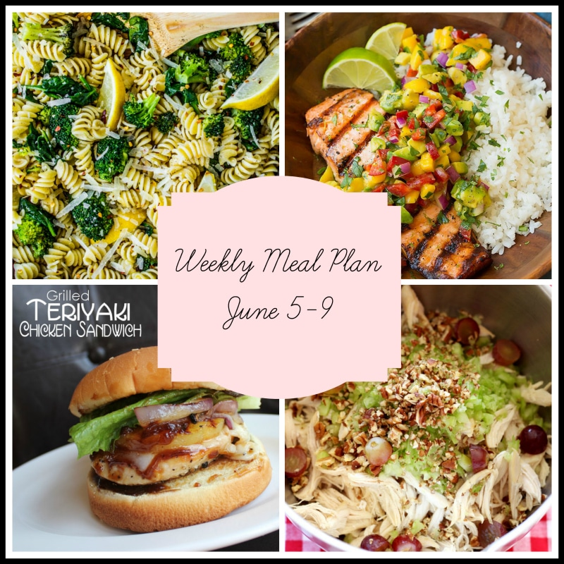 Collage of 4 dinners in a meal plan featuring lemon chicken rotini pasta with broccoli, salmon topped with mango salsa and rice, teriyaki chicken sandwich and a bowl of chicken salad.