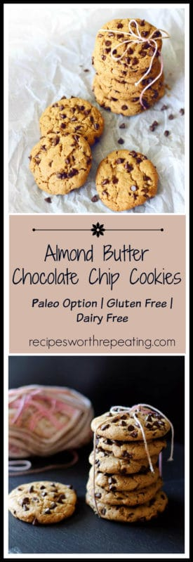 8 Paleo and gluten free chocolate chip cookies sitting on white parchment paper, sprinkled chocolate chips on paper.