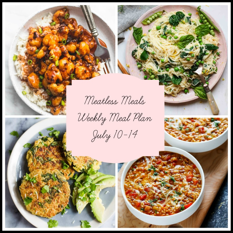 Collage of 4 meatless meals featured in a weekly meal plan. Sweet and sour cauliflower, vegetable pasta, kale patties and lentil soup.