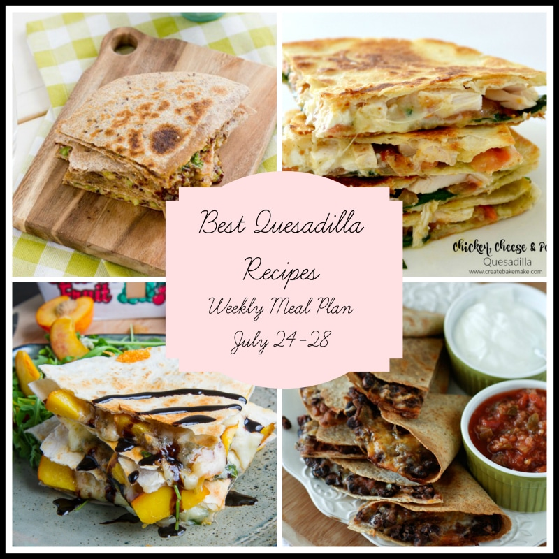 A collage of the best flavor combination quesadilla recipes featuring vegan veggies, pesto, peach and gorgonzola with balsamic vinegar and more!