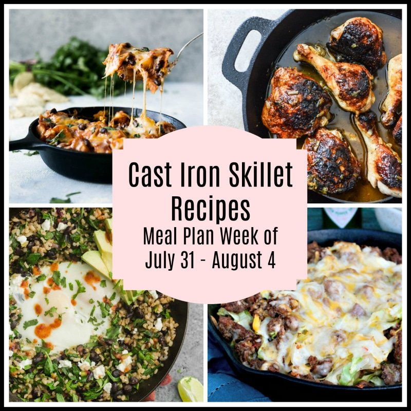 A collage of 4 cast iron skillet recipes featured in a meal plan including black bean and cabbage, beer citrus glazed chicken, tex-mex skillet and Butternut Squash and Black Bean Enchilada Skillet.