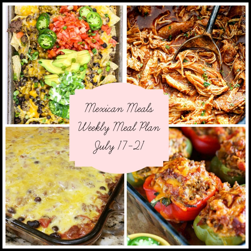 A mexican Meal plan featuring nachos, slow-cooker chicken, bean enchilada and stuffed peppers.