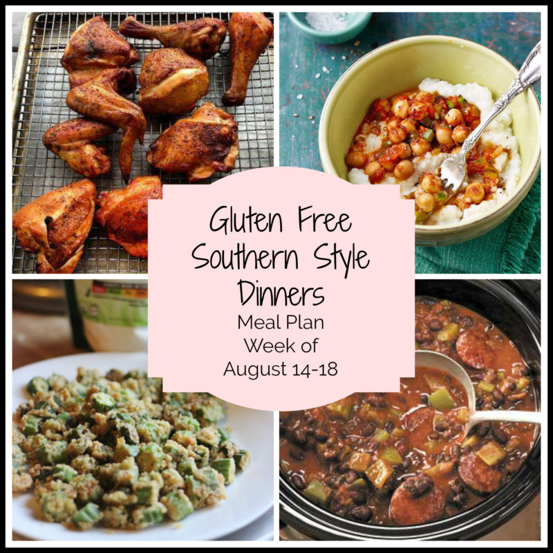 Collage of 4 gluten free southern style dinners featuring BBQ chicken, chickpeas and grits, fried okra and shrimp creole!