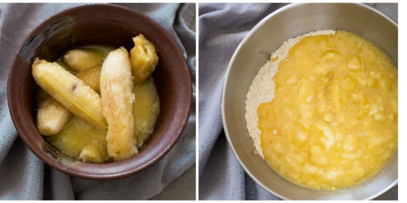 2 pictures showing a bowl of mashed bananas, butter and sugar being mixed with dry ingredients to make banana bread