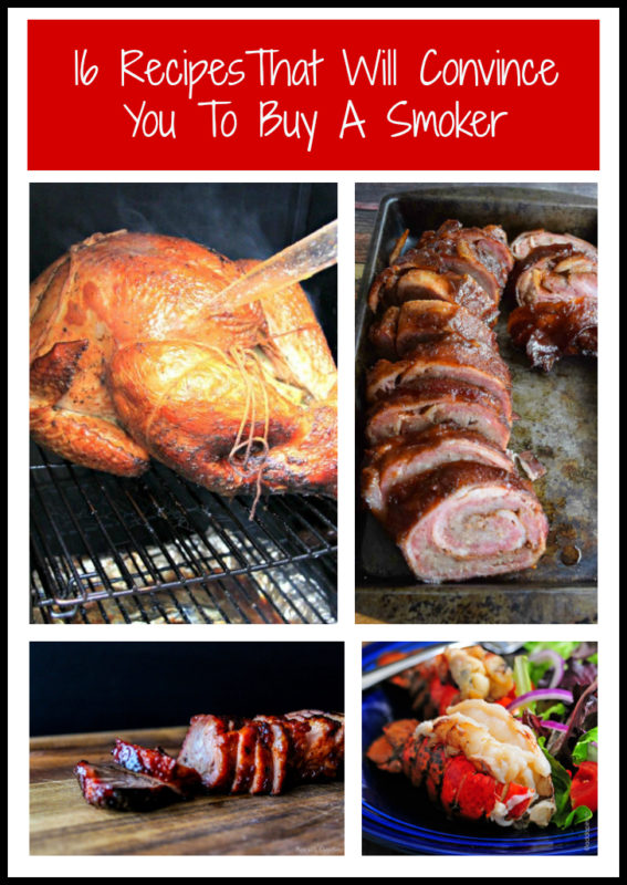 Smoked turkey, bacon and pork wrap and smoked lobster tail featured in a smoker roundup.