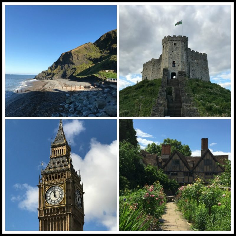 Collage featuring the beach at Aberystwyth, the castle at Cheltenham, Big Ben and Shakespeare cottage.