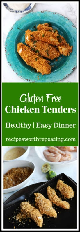 Easy baked Gluten Free Chicken Tenders! Crispy and delicious, these chicken tenders are healthy quick to prep, easy to make and make for the perfect dinner!