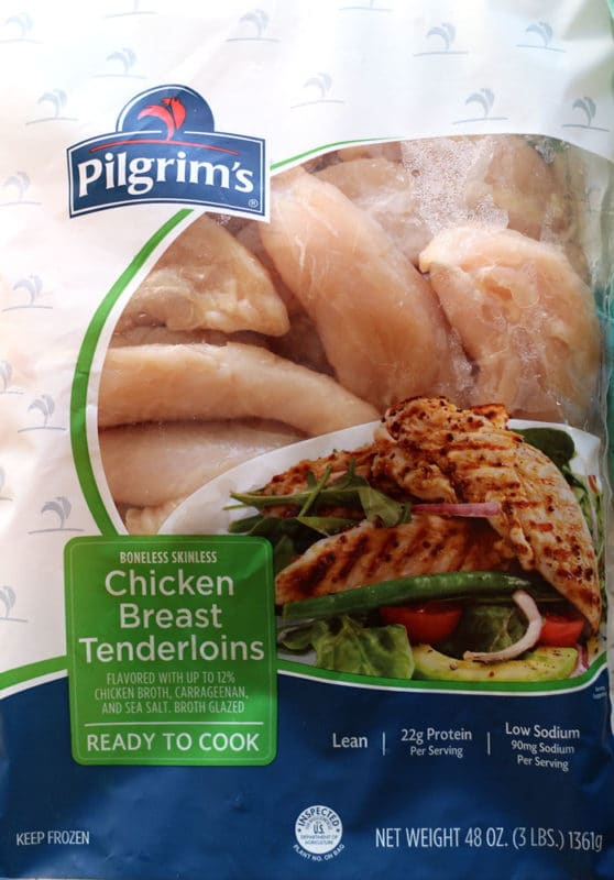 3 pound bag of Pilgrim's Chicken Breast Tenderloins.