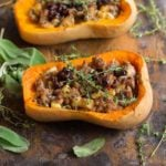 Stuffed butternut squash made with sausage, cranberries, and fresh thyme.