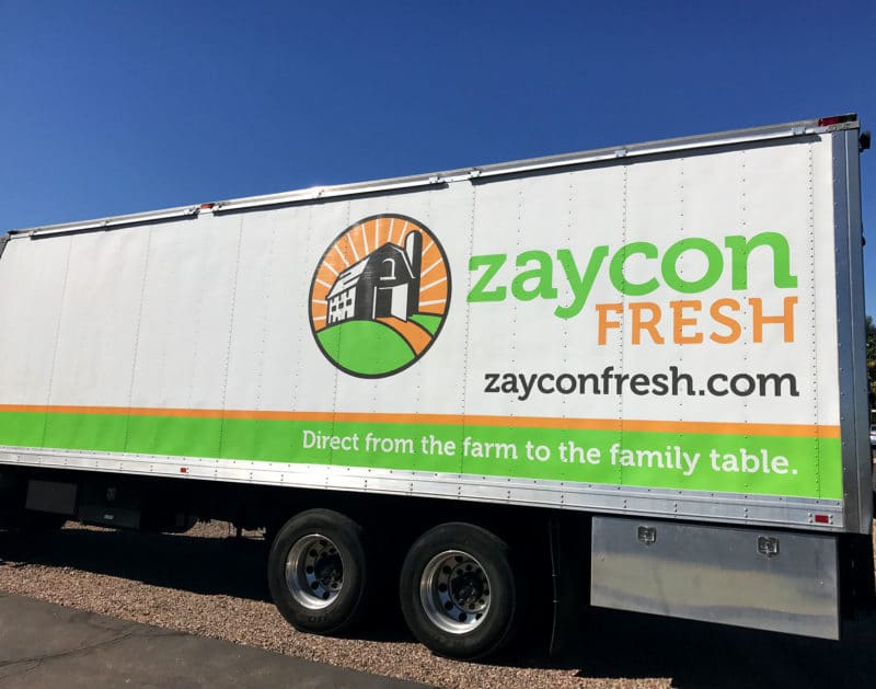 Zaycon Fresh Delivery Truck Parked in parking lot.
