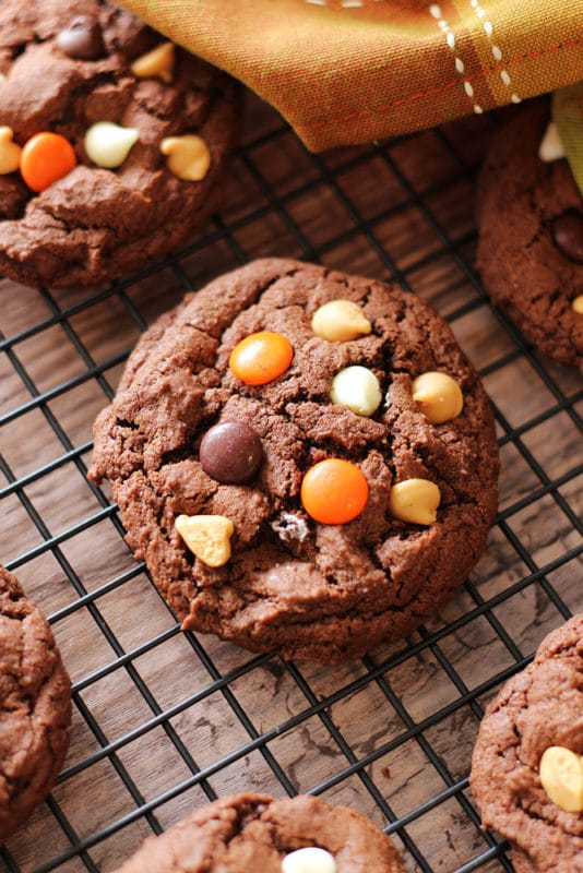 Featured Double Chocolate Peanut Butter Cookie on a wire rack topped with Reese's Pieces, white chocolate chips and peanut butter chips.