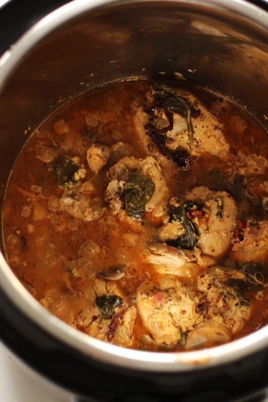 Instant Pot Garlic Chicken with White Wine & Dijon Mustard Cream Sauce in an Instant Pot.