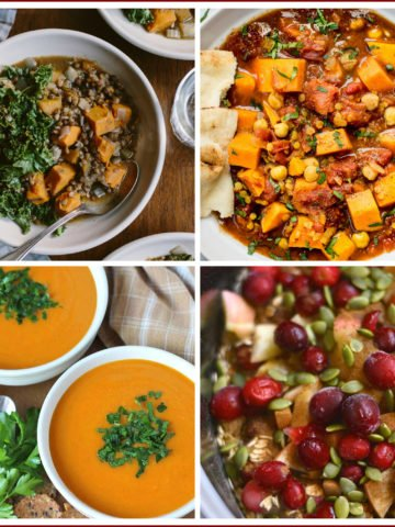 Vegan Recipes To Make In Your Slow Cooker featuring oatmeal, pumpkin soup, sweet potato and lentil stew.