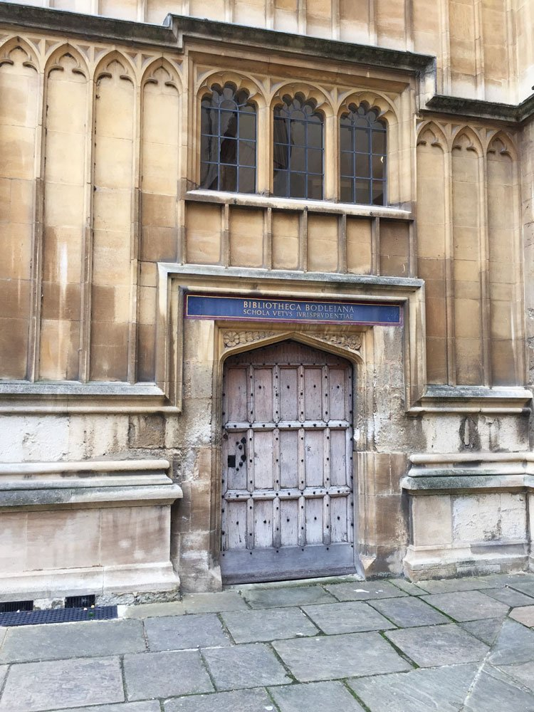 Bodleian Library showing tiny doors with Latin names above.