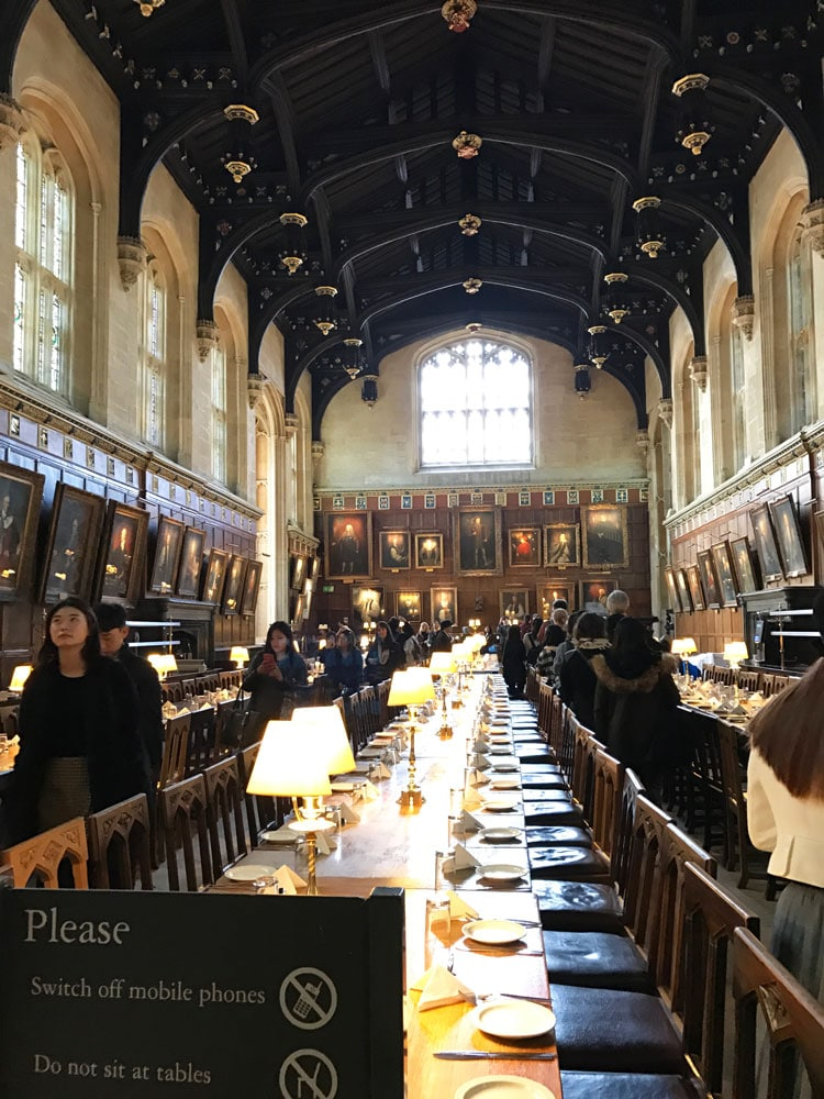 Dining Hall inspired for the Harry Potter movies in Oxford, UK.