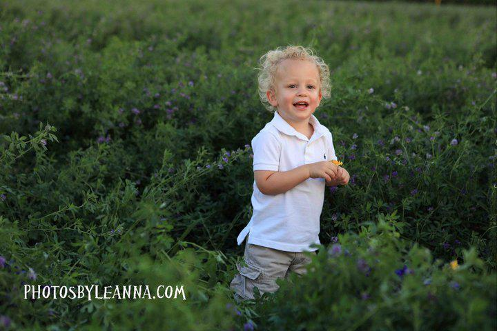 Blonde curly haired boy in a green pasture with purple flowers.