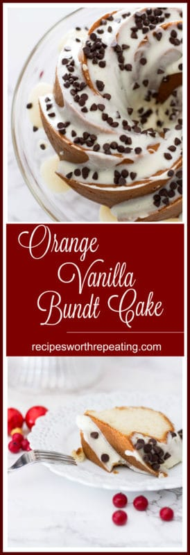 Orange Vanilla Bundt Cake topped with cream cheese frostings and chocolate chips.