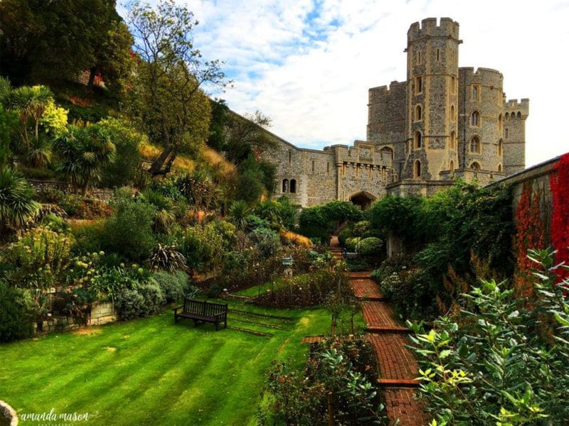 Windsor Castle garden view in England.