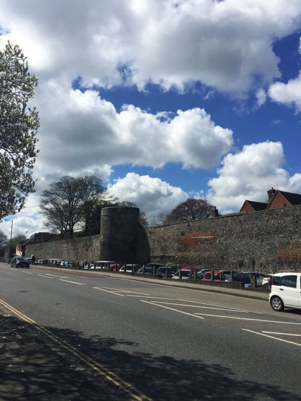 City Walls in Canterbury, UK on a sunny blue sky day.
