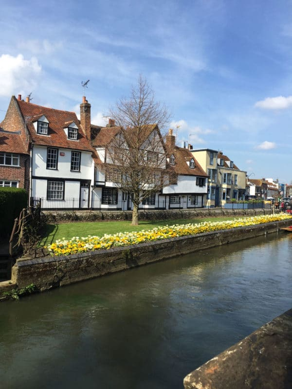White buildings along Canal Gardens in Canterbury, UK.