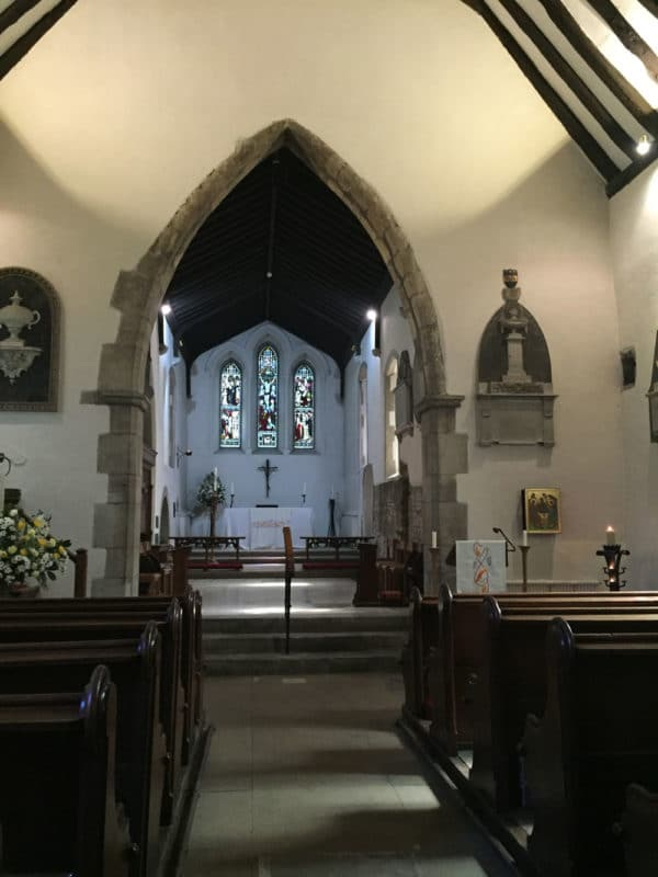 Inside Martin's Church in Canterbury, UK.