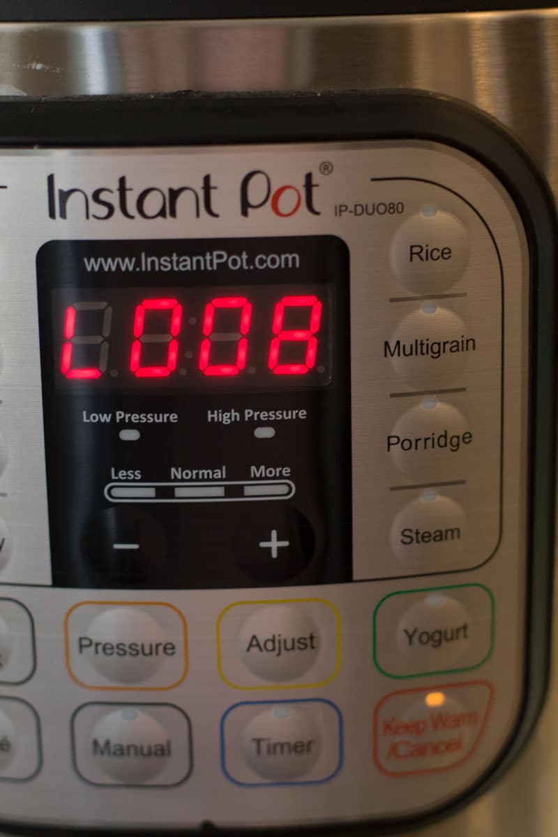 A close up of a countdown clock on an Instant Pot.