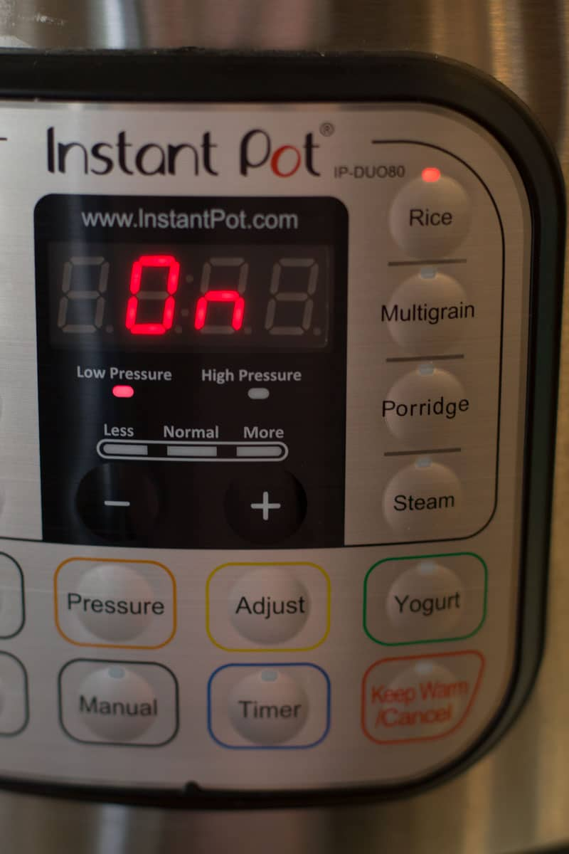 """On"" setting for rice using an instant pot."