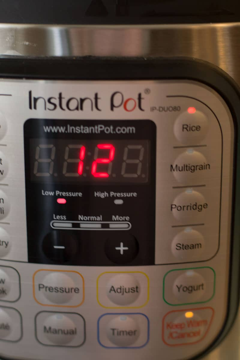 12 minutes into count down using an Instant Pot.