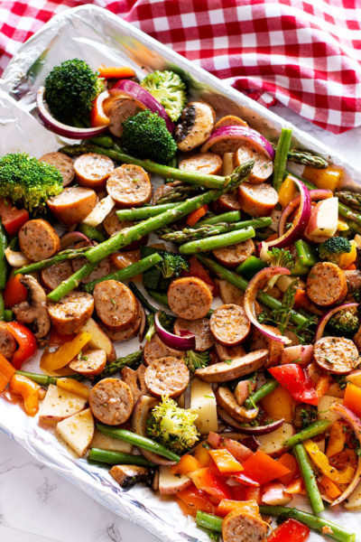 One Pan Smoked Sausage and Vegetables