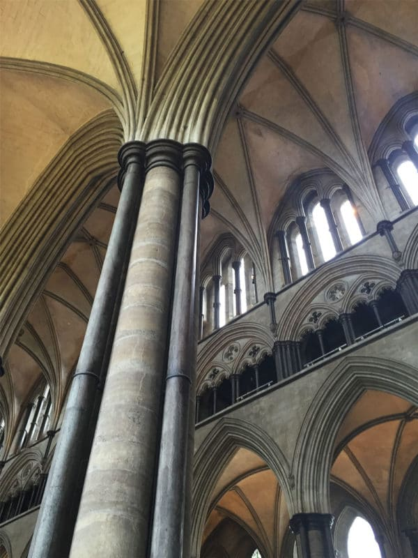 Inside the Salisbury Cathedral in Salisbury, UK.