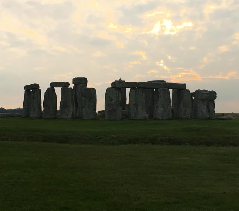 Sunset at Stonehenge in Salisbury, UK.