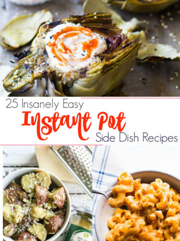 Grilled Artichokeswith Sriracha Dipping Sauce, potato salad and macaroni and cheese featured in an Instant Pot Side Dish Round Up.