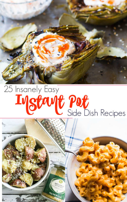 Grilled Artichokes with Sriracha Dipping Sauce, potato salad and macaroni and cheese featured in an Instant Pot Side Dish Round Up.