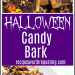 Pieces of Halloween Candy Bark topped with reese's pieces, chocolate, pecan chips and sprinkles.