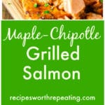 Maple-Chipotle Grilled Salmon on a wooden plank, fork in salmon.