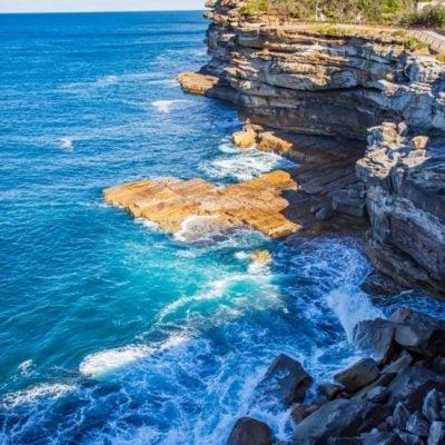 Cliffs and ocean in Sydney Australia.