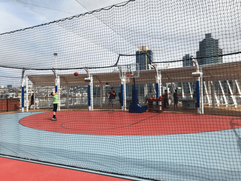 Basketball Court on the Disney Cruise Ship; boy playing basketball.