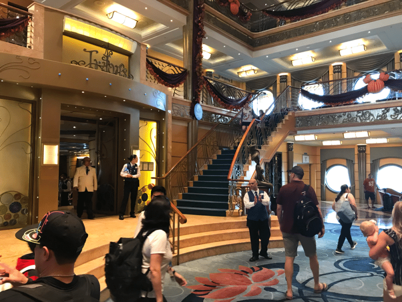 Grand staircase in the front lobby of the Disney Wonder Cruise.
