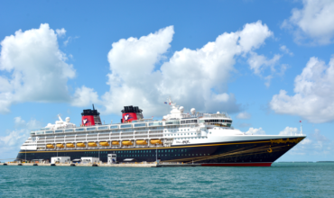 Disney Cruise Ship - The Disney Wonder on the ocean.