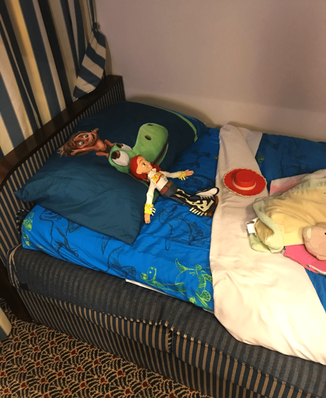 Kid bed made on the Disney Wonder - Toy Story Sheets.